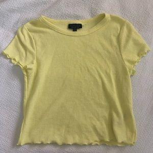 pastel cropped yellow t shirt